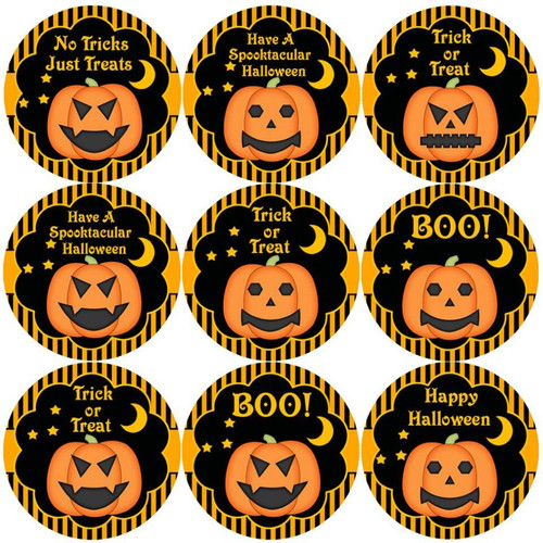 Sticker Stocker 144 Halloween Pumpkins 30mm Round Childrens Reward Stickers for Teachers or Parents
