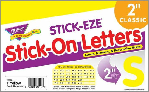 Trend Enterprises Inc 107 Yellow 2-Inch Stick on Letters STICK-EZE alphabet stickers