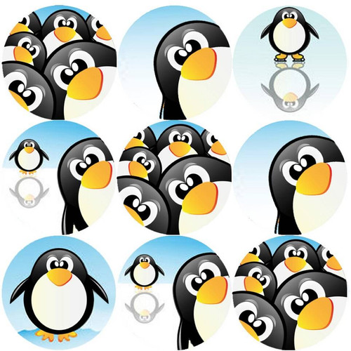 Sticker Stocker 144 Penguin Fun 30mm Round Childrens Reward Stickers - Teachers or Parents