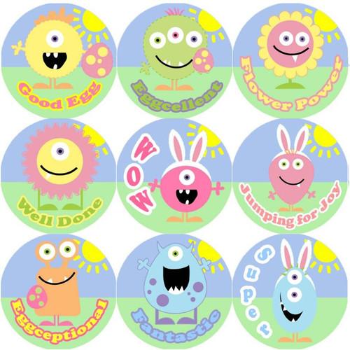 Sticker Stocker 144 Monster Easter Praise Words 30mm Round Childrens Reward Stickers for Teachers, Parents