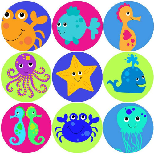 Sticker Stocker 144 Sea Life Creatures 30mm Childrens Reward Stickers for Teachers or Parents