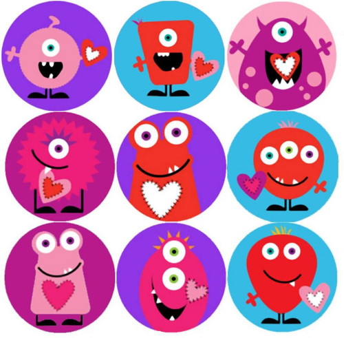 Sticker Stocker 144 Monster Hearts 30mm Childrens Reward Stickers for Teachers or Parents