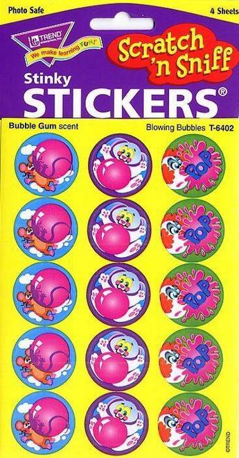 Trend Enterprises Inc 60 TREND Blowing Bubbles Bubble Gum Scratch n Sniff Stickers