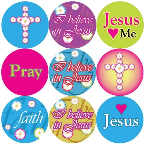 Sticker Stocker 144 I Believe in Jesus 30mm Round Childrens Christian Reward Stickers - Teachers or Parents