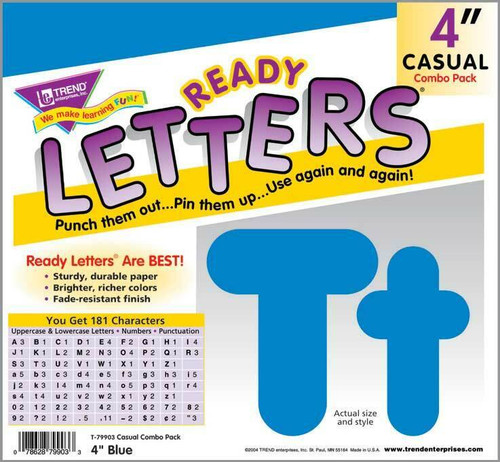 Trend Enterprises Inc Trend Display Ready Letters - Blue 4-Inch Casual Combo Pack