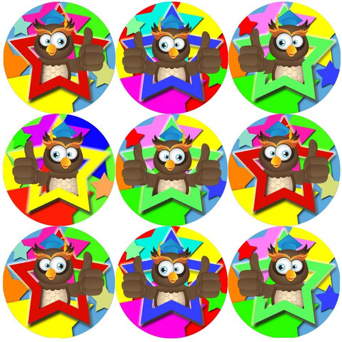Sticker Stocker 144 Bright Owl Star 30mm Round Childrens Reward Stickers for Teachers, Parents and Party Bags