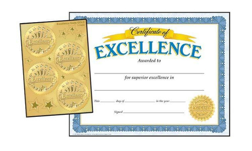 Trend Enterprises Inc 30 Excellence Certificates and 32 gold award seals Combo Pack