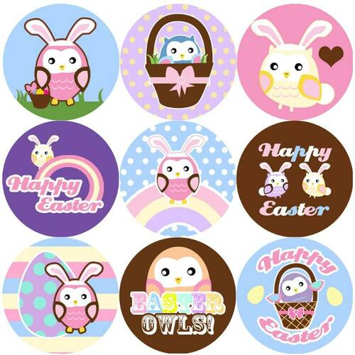 Sticker Stocker 144 Easter Owls 30mm Reward Stickers for Teachers, Parents and Spring Party Bags