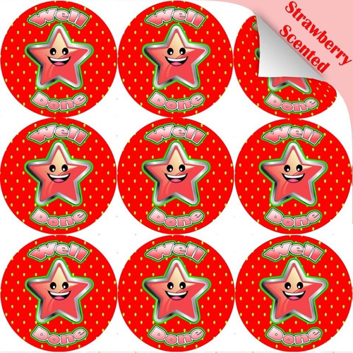 Sticker Stocker 120 Strawberry Well Done Star 30mm Scented Reward Stickers for Teachers, Parents and Party Bags