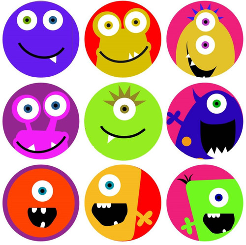 Sticker Stocker 144 Monster Faces 30mm Childrens Reward Stickers for Teachers or Parents