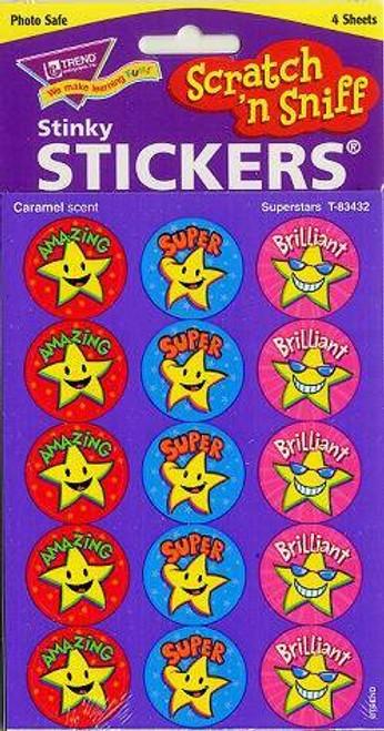 Trend Enterprises Inc 60 TREND Superstars Caramel Scratch n Sniff Reward Stickers