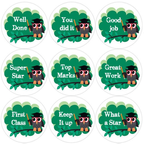 Sticker Stocker 144 Owl Teacher 30mm Round Childrens Reward Stickers - Teachers or Parents