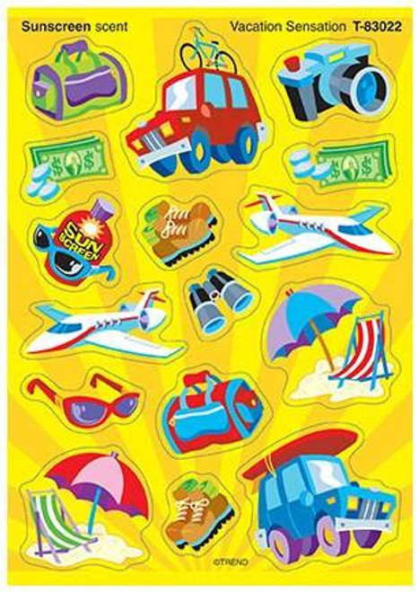 Trend Enterprises Inc Vacation Sensation sunscreen Scratch n Sniff Reward Stickers