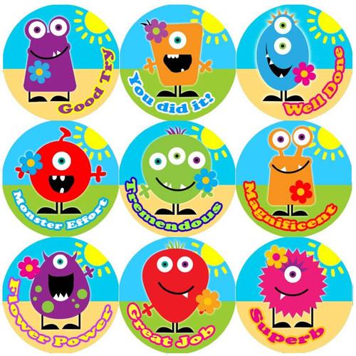 Sticker Stocker 144 Monster Flowers Praise Words 30mm Childrens Reward Stickers for Teachers or Parents