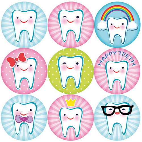 Sticker Stocker 144 Happy Teeth 30mm Reward Stickers for Teachers, Parents Dentist and Party Bags