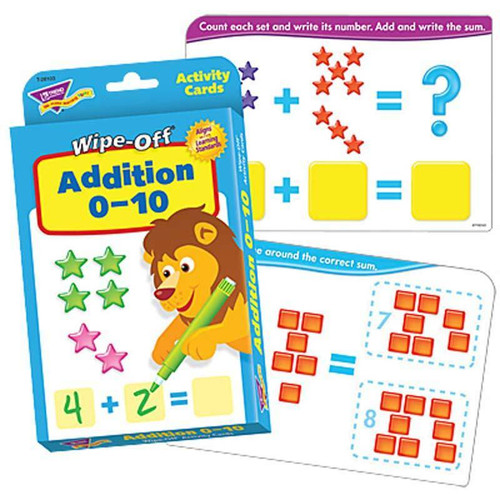 Trend Enterprises Inc Addition 0-10 Wipe Off Educational Activity Game Cards