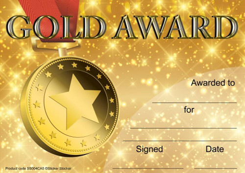 Sticker Stocker 30 Gold Award Certificates for school teachers, 250gsm A5 silk finish card