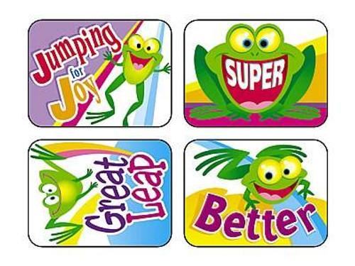 Trend Enterprises Inc TREND 100 Large Friendly Frogs Applause reward stickers