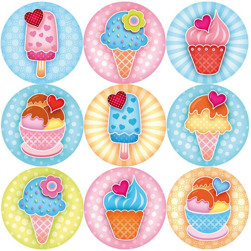 Sticker Stocker 144 Sweet Summer Ice Cream 30mm Reward Stickers for Teachers, Parents, Party Bags