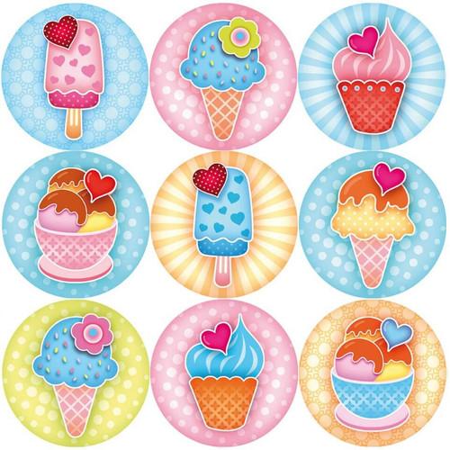 Sticker Stocker 144 Sweet Summer Ice Cream 30mm Reward Stickers for Teachers, Parents, Party Bags