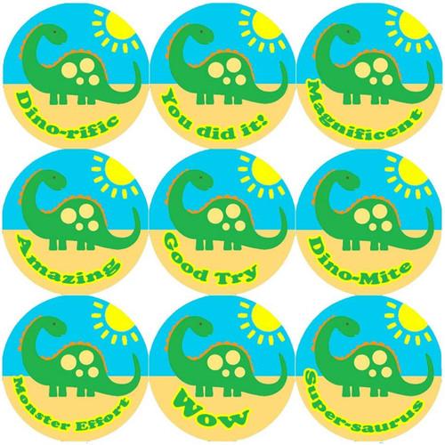 Sticker Stocker 144 Big Green Dinosaur 30mm Round Childrens Reward Stickers for Teachers or Parents