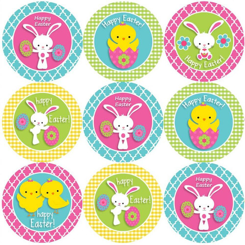 Sticker Stocker 144 Happy Easter 30mm Reward Stickers for Teachers, Parents and Girls Party Bags