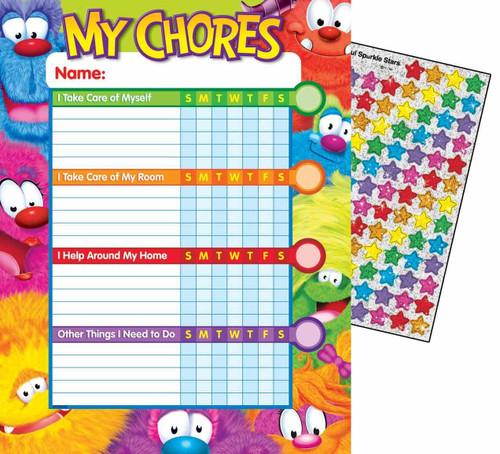 Trend Enterprises Inc 25 Furry Friends Chore Reward Charts and 100 Reward Stickers