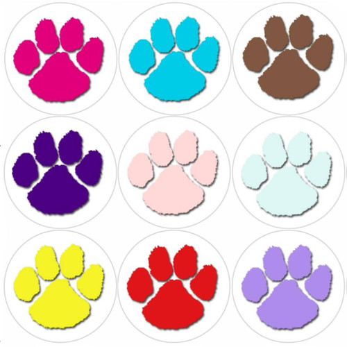 Sticker Stocker 144 Puppy Paw Prints 30mm Round Childrens Reward Stickers - Teachers or Parents