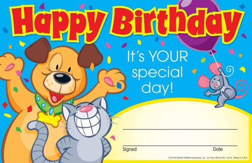 Trend Enterprises Inc 30 Happy Birthday Award - Its your Special Day Certificate Pad