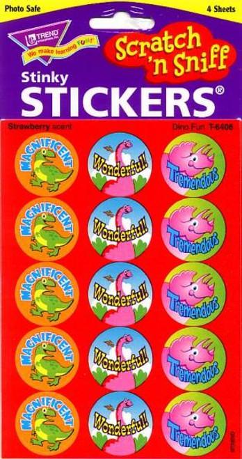 Trend Enterprises Inc 60 TREND Dino Fun Strawberry Scratch n Sniff Reward Stickers