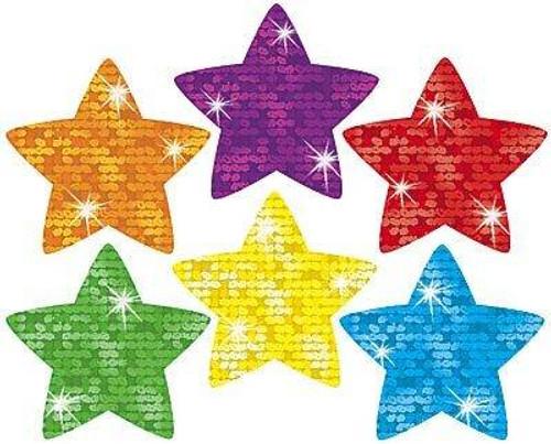 Trend Enterprises Inc 180 Colourful Super Stars Sparkle superShapes reward stickers