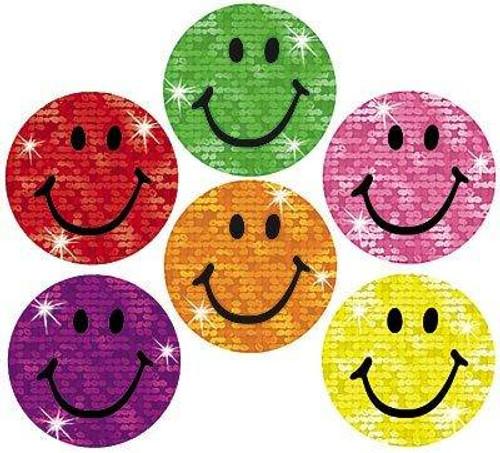 Trend Enterprises Inc 160 Colourful Silly Smiles Sparkle superSpots reward stickers