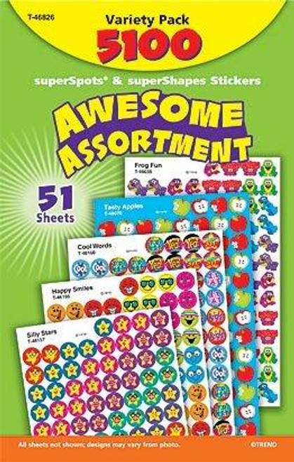 Trend Enterprises Inc 5100 Awesome Assortment superSpots superShapes Reward Stickers