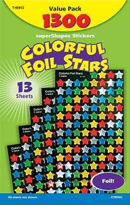 Trend Enterprises Inc 1300 Colourful Foil Reward Stars SuperShapes Stickers