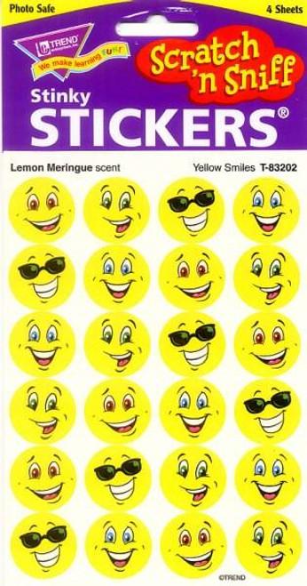 Trend Enterprises Inc 96 Yellow Smile Lemon Meringue Scratch n Sniff Reward Stickers