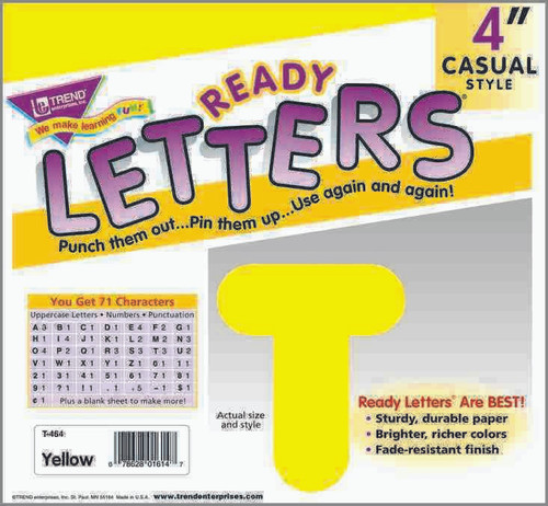 Trend Enterprises Inc Trend Display Ready Letters - Yellow 4 Casual