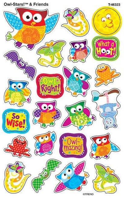 Trend Enterprises Inc 184 Owl Stars and Friends SuperShapes Teacher Reward Stickers - Large