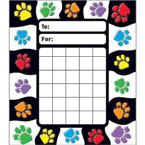 Trend Enterprises Inc Paw Prints Incentive Chart Pad and 200 Free Reward Stickers