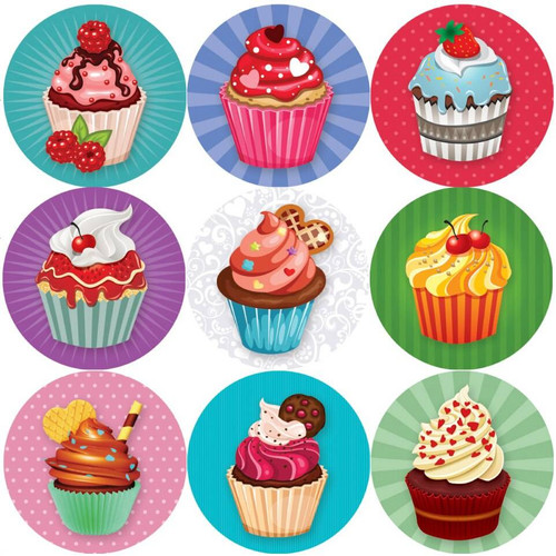 Sticker Stocker 144 Colourful Cupcakes 30mm Childrens Reward Stickers for Teachers or Parents