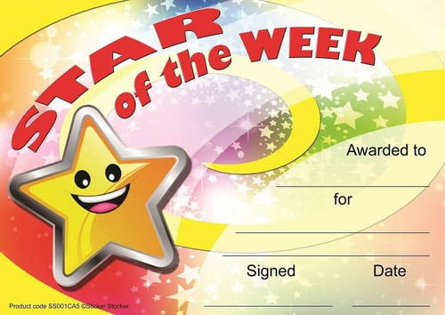 Sticker Stocker 30 Star of the Week award certificates for school teachers, 250gsm A5 silk finish card