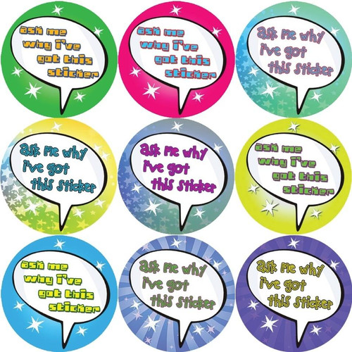 Sticker Stocker 144 Ask me why i got this sticker 30mm Reward Stickers for Teachers, Parents and Party Bags