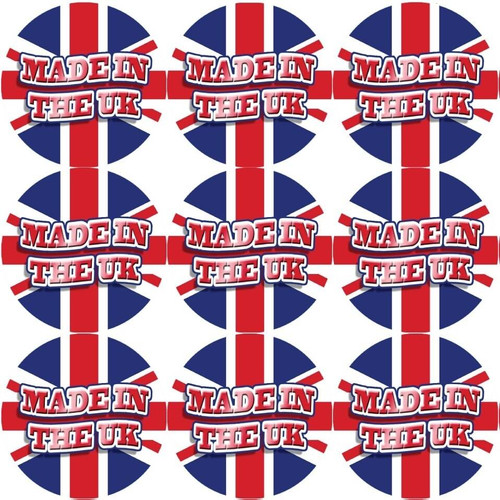 Sticker Stocker 144 Made in the UK 30mm Union Jack Stickers Glossy Great Britain Labels