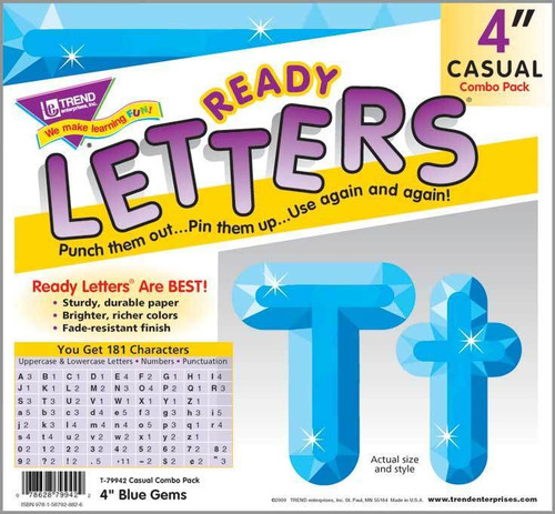 Trend Enterprises Inc Trend Display Ready Letters - Blue Gems 4-Inch Casual