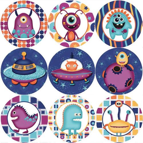 Sticker Stocker 144 Space Aliens 30mm Childrens Reward Stickers for Teachers or Parents
