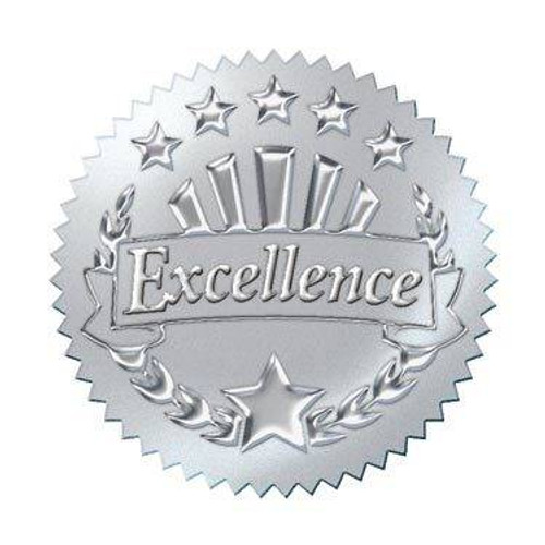 Trend Enterprises Inc 32 Embossed silver excellence award seals certificate stickers