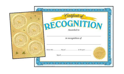 Trend Enterprises Inc 30 Recognition Certificates and 32 Award Seals Combo Pack