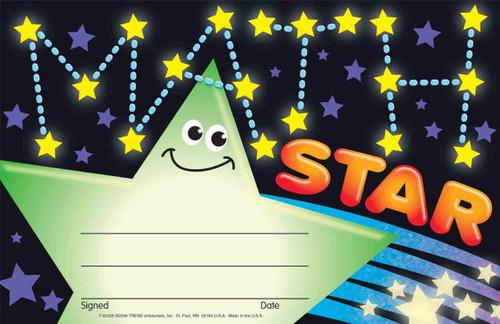 Trend Enterprises Inc 30 School Maths star certificates - Numeracy recognition awards