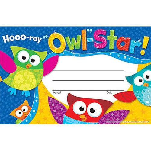 Trend Enterprises Inc 30 Hooo-ray Owl Stars Childrens Award - Recognition Certificates Pad