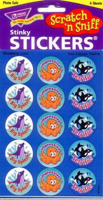 Trend Enterprises Inc 60 TREND Sea Animals Blueberry Scratch n Sniff Reward Stickers