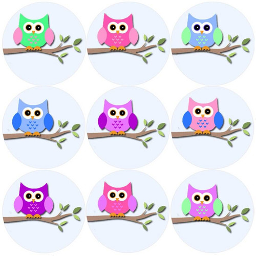 Sticker Stocker 144 Owl Branch 30mm Round Childrens Reward Stickers for Teachers, Parents and Party Bags